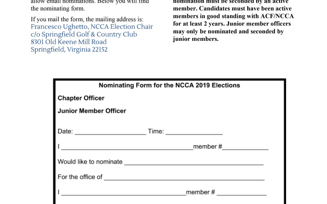 NCCA Nominations for 2019-2020